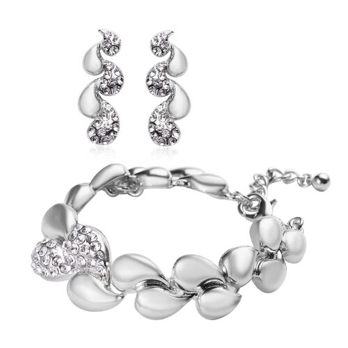 2 Piece Set - White Austrian Crystal Bracelet (Size 6.5 with 1 inch Extender) and Dangle Earrings (w