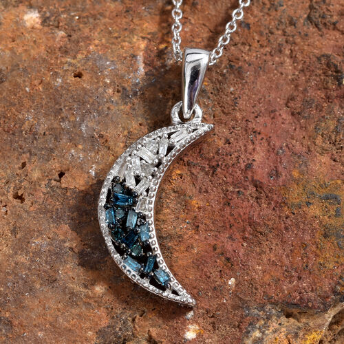 Blue and White Diamond (Bgt) Half Moon Pendant With Chain (Size 20) in Platinum Overlay Sterling Silver 0.150 Ct.