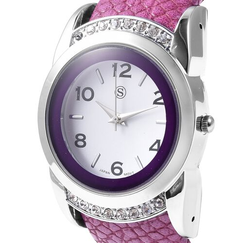2 Piece Set - STRADA Japanese Movement Water Resistant Bangle Watch (6-7) with Simulated Kunzite and White Austrian Crystal Pendant With Chain (Size 24 with 2.5 inch Extender) in Silver Plated