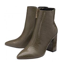 Ravel Croc Print Soriano Ankle Boots Khaki