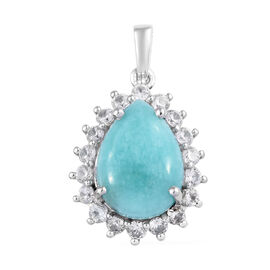 6.25 Ct Amazonite and Cambodian Zircon Halo Pendant in Platinum Plated Sterling Silver