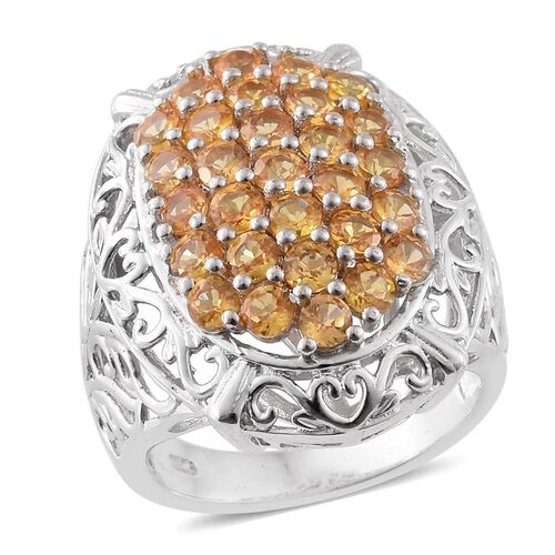 Rare Sunset Sapphire (Rnd) Ring in Platinum Overlay Sterling Silver 3.000 Ct. Sterling SIlver Wt 8.00 Gms