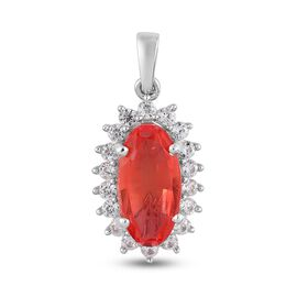 Padparadscha Triplet Quartz and Natural Cambodian Zircon Pendant in Platinum Overlay Sterling Silver