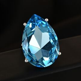 J Francis Crystal From Swarovski Aquamarine Crystal Solitaire Ring in Platinum Overlay Sterling Silver