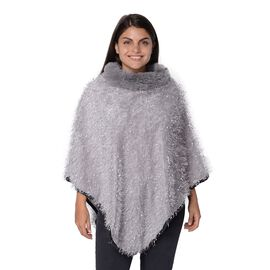 Winter Poncho with Faux Fur Collar (Size 83x97 Cm) - Silver