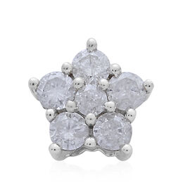 9K White Gold 0.50 Carat Diamond Floral Pendant SGL Certified (I3/G-H)