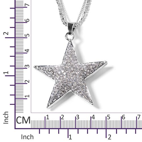 Austrian White Crystal (Rnd) Star Pendant With Chain (Size 28 with 2.50 inch Extender) in Silver Plated.