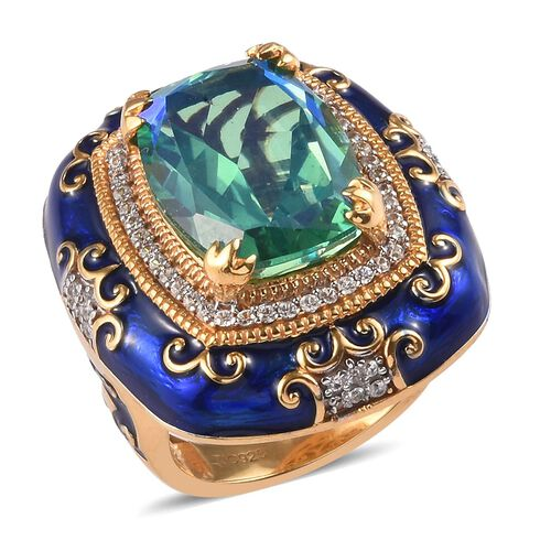 GP - Peacock Quartz, Natural Cambodian Zircon and Blue Sapphire Enamelled Ring in Platinum and Yello