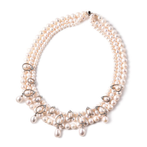 LucyQ White Freshwater Pearl and Natural Cambodian Zircon Necklace (Size 19) in Rhodium Overlay Ster