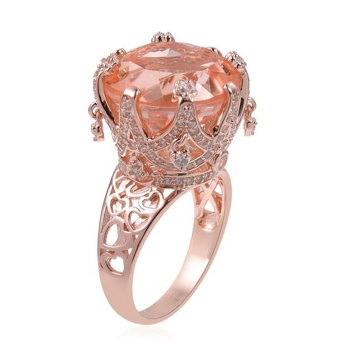 Morganite Quartz (Rnd 13.00 Ct), Natural White Cambodian Zircon Ring in Rose Gold Overlay Sterling Silver 14.310 Ct, Silver wt 5.21 Gms,