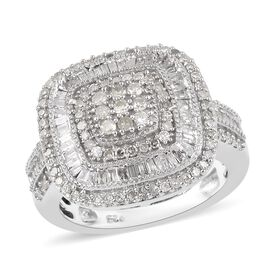 Diamond Cluster Ring in Platinum Plated Sterling Silver 5.35 Grams 0.90 Ct