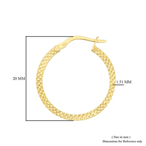 9K Yellow Gold Cobra-Textured Creole Earrings (with Clasp), Gold wt 1.30 Gms