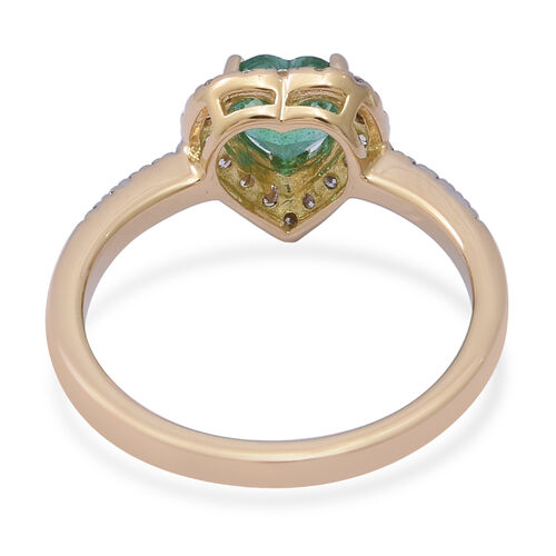 ILIANA 18K Yellow Gold AAA Kagem Zambian Emerald (Hrt), Diamond (SI/G-H) Ring 1.04 Ct.
