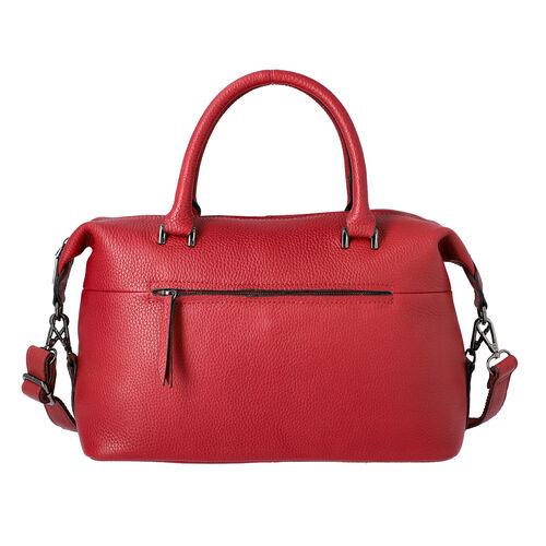 100% Genuine Leather Solid Burgundy Satchel Bag with Adjustable Shoulder Strap and Zipper Closure (3