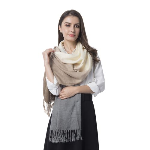Grey, Light Brown and Off White Colour Scarf (Size 180x62 Cm)