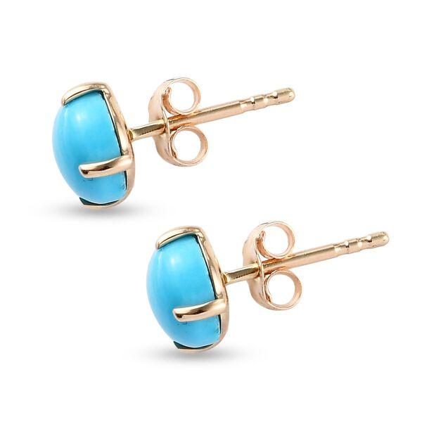 9K Yellow Gold Arizona Sleeping Beauty Turquoise Solitaire Stud Earrings (with Push Back) 1.80 Ct.