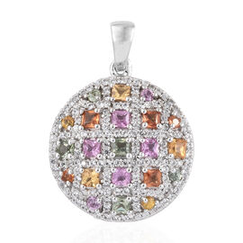 Multi Sapphire Circle Pendant in Platinum Overlay Sterling Silver 3.000 Ct, Number of Gemstone 171