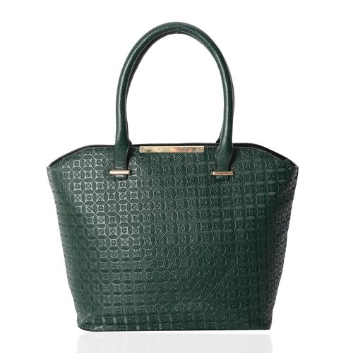 Set of 2- Green Colour Large Size Bag (Size 43x31x29x14.5 Cm) and Middle Size Bag (Size 33x24x22x8 Cm) with Antique Coin Pattern and Removable Shoulder Strap.