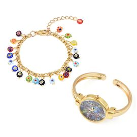 2 Piece Set - Multi Murano Style Glass Bangle Watch and Multi Charm Bracelet (Size 7 with 2 inch Ext