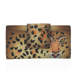 SUKRITI - 100% Genuine Leather Brown Colour Leopard Print Handpainted Wallet with RFID Blocking (Size 19.68x10.16x2.54 Cm)