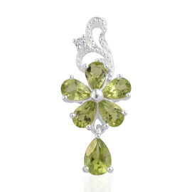 Hebei Peridot (Pear), Natural Cambodian Zircon Pendant in Sterling Silver 2.710 Ct.
