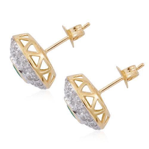 Limited Edition - 9K Yellow Gold AA Kagem Zambian Emerald (Rnd), Natural White Cambodian Zircon Earrings (with Push Back) 2.250 Ct.