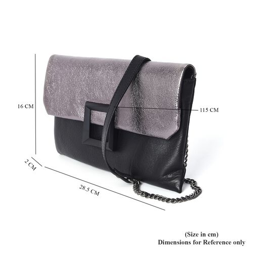 100% Genuine Leather Bag with Detachable Stylish Shoulder Strap and External Zipper Pocket (Size 28.5x2x16 Cm) - Black and Silver