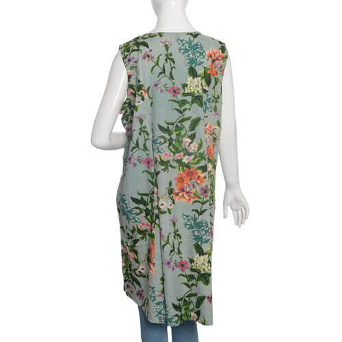 Green and Multi Colour Floral Print Straight Dress (Size 100x60 Cm)