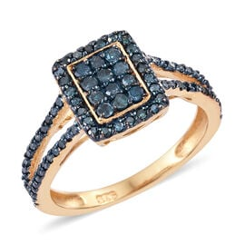 Blue Diamond (Rnd) Ring in 14K Gold Overlay Sterling Silver 0.500  Ct.