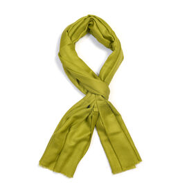 100% Cashmere Wool Green Colour Scarf (Size 200x70 Cm)