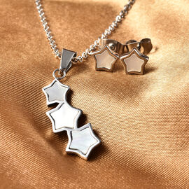 2 Piece Set -  White Mother of Pearl Star Necklace (Size 20) and Earrings (with Push Back) in Stainless Steel