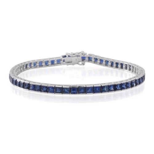 10.50 Ct. AA Kanchanaburi Blue Sapphire Tennis Bracelet in 9K White Gold 7.5 Inch