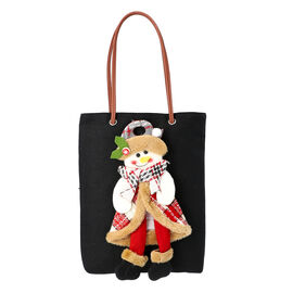 Christmas Collection - 3D Snowman Tote Bag - Size 26x32cm -Black