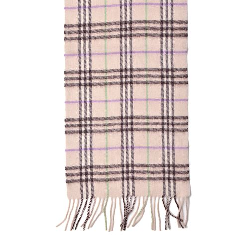 100% Wool White, Purple and Green Colour Checker Pattern Scarf with Tassels (Size 180X30 Cm)
