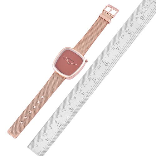 Designer Inspired - STRADA Japanese Movement Chocolate Dial Watch in Rose Gold Tone