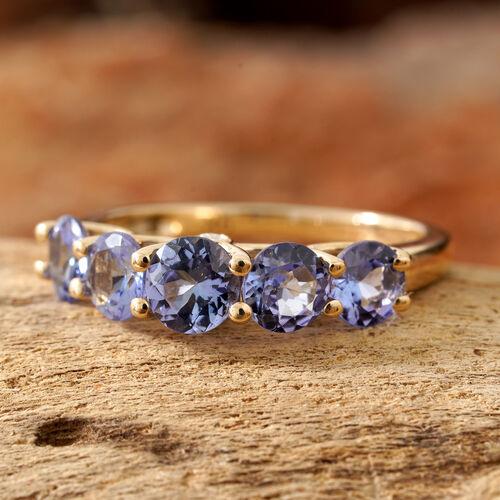 9K Yellow Gold Tanzanite (Rnd), Diamond Five Stone Ring 2.000 Ct.