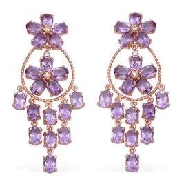 28.32 Ct Rose De France Amethyst and Zircon Chandelier Earrings in Rose Gold Plated Silver