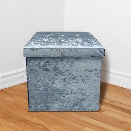 Lesser and Pavey Velvet Folding Storage Ottoman Box in Teal Colour (Size 35x35x37 cm)