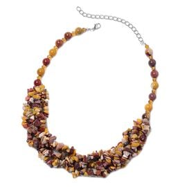 Mookite and Simulated Citrine Chips and Beaded Necklace 20 With 6 Inch Extender