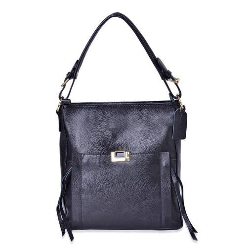 Premium Collection 100% Genuine Leather Black Colour Tote Bag with External Zipper Pocket (Size 29X27X10 Cm)