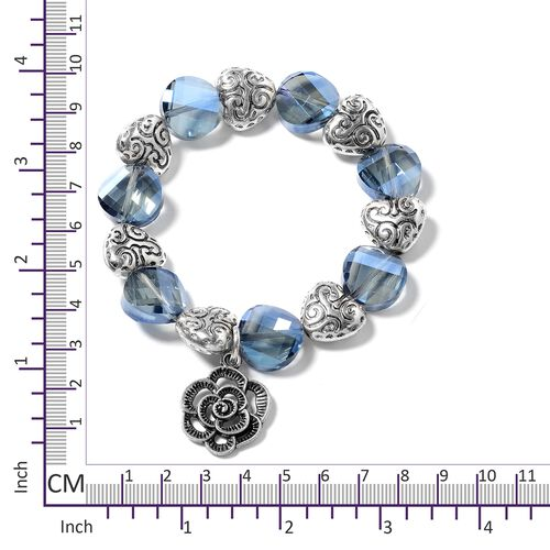 Set of 3- Simulated Blue Sapphire, Ceramic and Multi Colour Beads  Bracelet in Silver Bond.