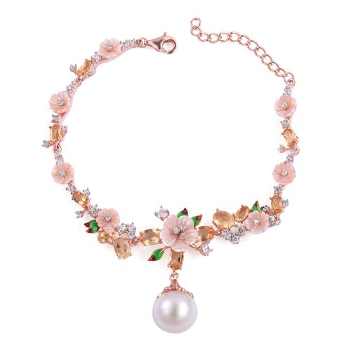 Jardin Collection - South Sea White Pearl (Rnd 12-12.5mm), Citrine and Multi Gemstone Buttercup flow