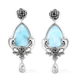 Sajen Silver Larimar and Aqua Floral Drop Enamelled Earrings (with Push Back) Sterling Silver 1.74 C