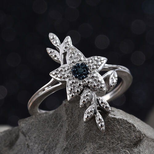 Blue and White Diamond (Rnd) Floral Ring in Platinum Overlay Sterling Silver