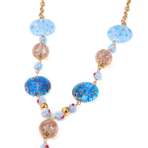 2 Piece Set - Blue and Champagne Colour Murano Glass Hook Earrings and Necklace (Size 20 with 2 inch Extender) in Yellow Plated Stainless Steel