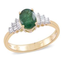 ILIANA 18K Yellow Gold AAA Kagem Zambian Emerald (Ovl 1.15 Ct), Diamond (SI/G-H) Ring 1.250 Ct.