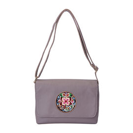 100% Genuine Leather Adjustable Crossbody Bag (25x18x7cm) with Embroidered Flower Pattern - Grey
