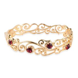 J Francis Ruby Colour Crystal from Swarovski Floral Vine Bangle in 18K Gold Plated 7.5 Inch