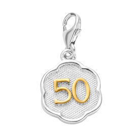 50 Birthday Anniversary Charm in Platinum and Yellow Gold Overlay Sterling Silver