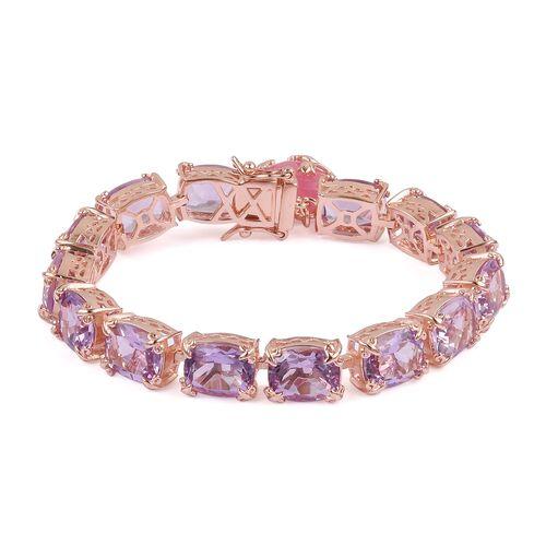 Rose De France Amethyst (Cush), Pink Jade Bracelet (Size 6.5) in Rose Gold Overlay Sterling Silver 4
